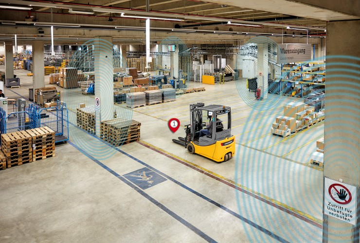 Visualization of Indoor Positioning functionality in the warehouse