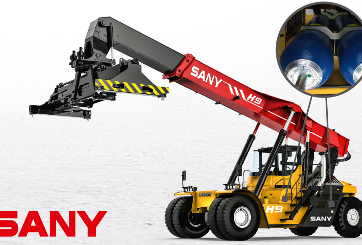 SANY SRSC45H9A Hybrid Reach Stacker, location of accumulators.