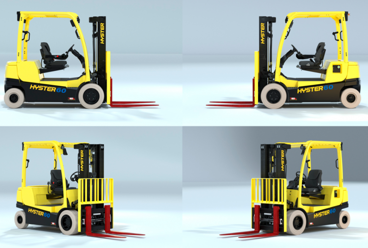 Multi-angle view of Hyster integrated lithium-ion forklift.