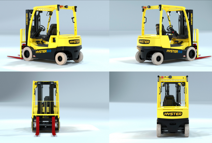 Alternate version of multi-angle view of Hyster integrated lithium-ion forklift.